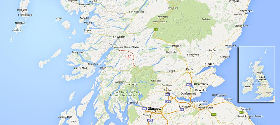 this is an image of our route in Scotland along the A82 from Tyndrum to Glencoe - marked in red