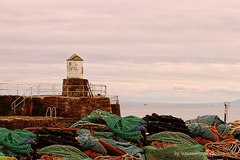 this is an image of a cloudy sky along coastline looking towards Edinburgh with fishermen's nets in the foreground - East Neuk photography