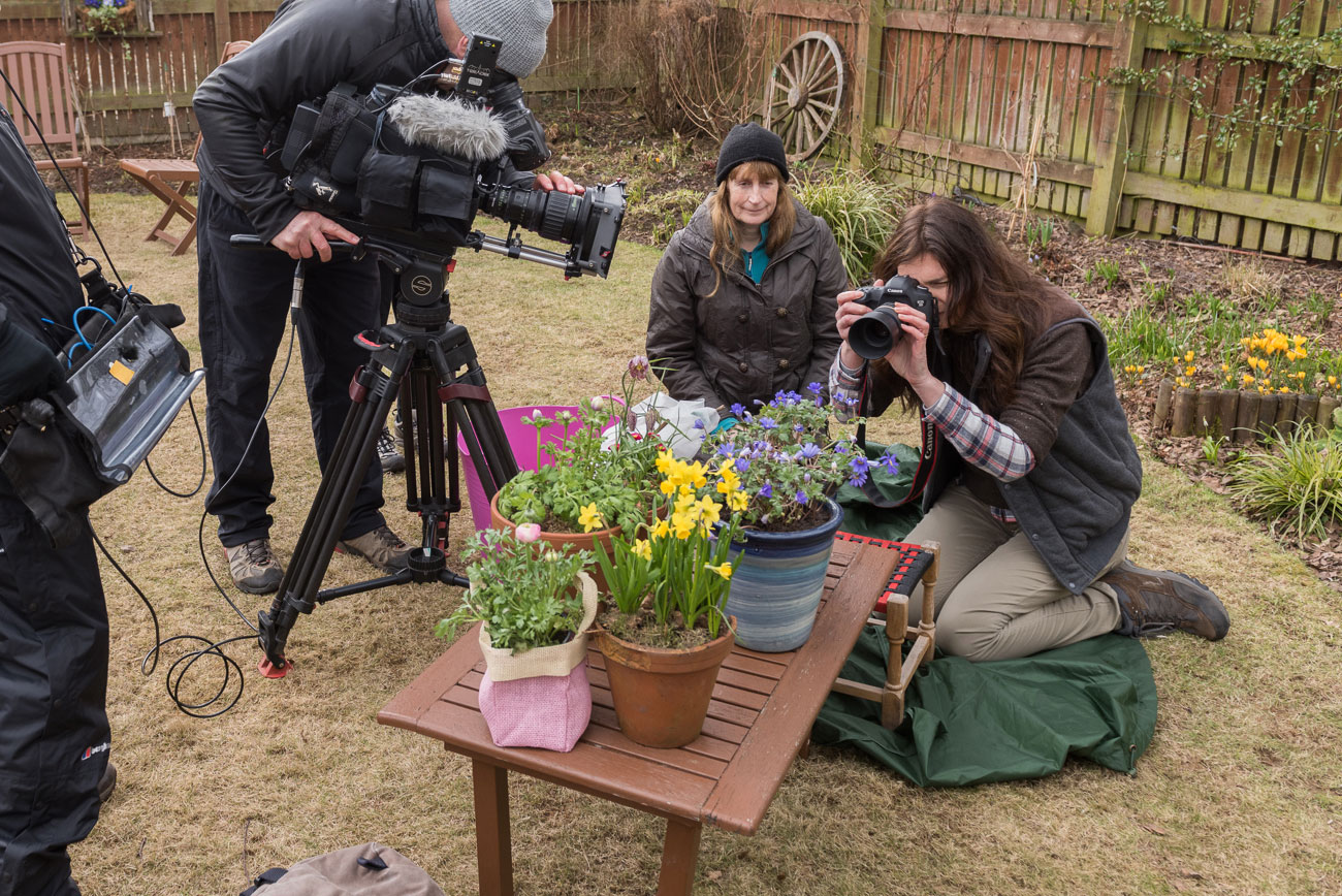 Rosie Nixon doing flower photography for BBC2 Beechgrove Garden with Carole Baxter